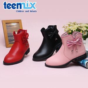 天美意秋冬新款女童靴子中童童靴女孩时尚靴子短靴 DX0266