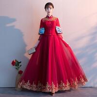 新娘敬酒服2018冬季新款结婚长款显瘦红色旗袍回门晚礼服女秀禾服 酒红色 X