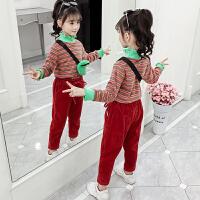 2019秋冬季新款小女孩洋气童装儿童加厚灯芯绒两件套女童冬装套装