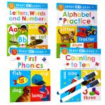 可重复擦写字母单词数字4册合售Ready Set Learn Wipe Clean Alphabet Practice