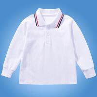 儿童白色polo衫长袖男童女童春秋中大童小学生校服翻领恤衫