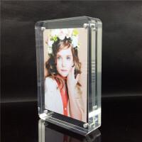 圆角摆台 亚克力相框架 双面透明磁铁相框 仿水晶6寸7寸8寸10寸 透明圆角