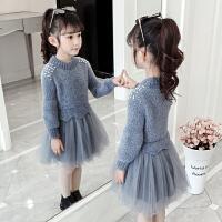 女童毛衣裙子秋冬秋装洋气公主裙小女孩长袖儿童装连衣裙