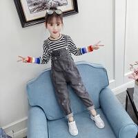 女童牛仔背带裤儿童女孩秋装时尚秋季中大童套装