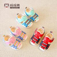 夏季1-3岁女宝宝凉鞋婴儿透气软底学步鞋儿童机能鞋小童网鞋