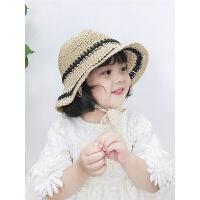 儿童海边沙滩遮阳帽百搭太阳帽夏季女宝宝草帽儿童渔夫帽出游帽子