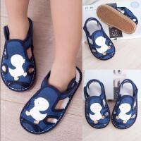 男婴儿学步鞋夏儿童凉鞋女1-3岁软底鞋包头鞋宝宝布凉鞋
