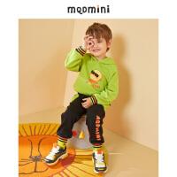 【折后券后预估价:152】MQD男小童牛油果色大图案款儿童套装20秋潮童连帽宝宝运动两件套