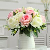 新款餐桌花瓶摆件仿真玫瑰花束套装饰花瓶客厅餐桌卧室假塑料绢花干花艺电视柜摆件