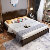 新中式实木床简约1.8 1.5m轻奢双人床样板房高箱储物全实木家具 1800mm*2000mm 气压结构