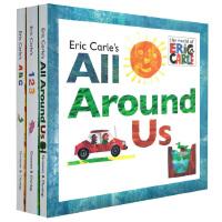 【英文原版】艾瑞卡尔 Eric Carle's  ABC/123/All around us 精装带翻翻页操作书 3册