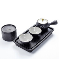 粗陶五行茶具 之水火土套装 功夫礼盒泡茶器 干泡一壶两杯带茶叶罐