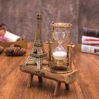 欧式复古巴黎埃菲尔铁塔旋转沙漏计时器工艺品摆件儿童节生日礼品 古铜色