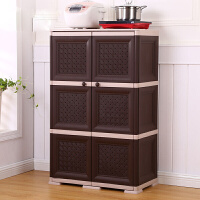 新品厨房柜子储物柜碗柜简易橱柜整理柜双开门收纳柜塑料