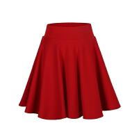 春秋新款女高腰短裙松紧腰半身裙蓬蓬伞裙舞裙大码大摆字裙 红色 净版