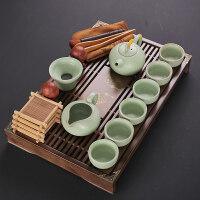 【新品】陶瓷玲珑冰裂功夫茶具实木排水茶盘小号茶台办公家用套装 19件