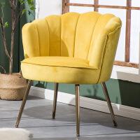 美式单人沙发椅贝壳椅轻奢布艺客厅阳台卧室小户型简约现代休闲椅个性时尚创意欧式 单人