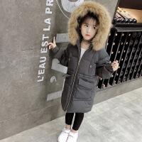 童装女童中大童冬装棉衣新款儿童中长款棉袄休闲外套 深灰色 130码