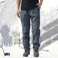 男装冬季加绒休闲裤加厚保暖棉裤户外多口袋工装裤男时尚运动长裤