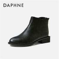 Daphne/达芙妮马丁靴女2019秋冬新款厚底短靴尖头显瘦休闲女靴子---
