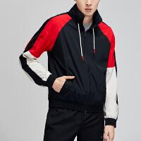 NIKE男装夹克2019新款时尚撞色拼接连帽防风篮球休闲运动服AJ3458
