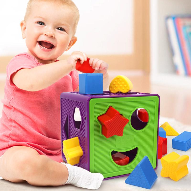 橙爱 潜力 几何形状认知盒 塑料配对积木儿童智力盒12个月-2岁宝宝益智玩具益智玩具限时钜惠