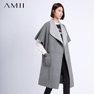 AMII[极简主义]冬翻领斗篷中长羊毛呢外套11591700