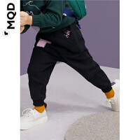 MQD童装男小童裤子加绒加厚冬装新款宝宝幼童撞色贴布绣保暖裤