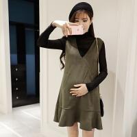 孕妇装秋装套装时尚款2018新款韩版长袖打底衫两件套秋冬款连衣裙