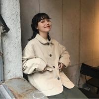 复古学院风夹克上衣春装韩版宽松短款长袖工装外套休闲学生上衣女