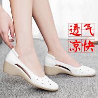 护士鞋夏季女新款凉鞋韩版白色透气坡跟镂空牛筋软底医院