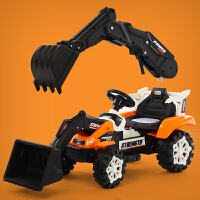 工程玩具车 儿童挖掘机玩具车遥控推挖土机可坐可骑全电动大号男孩勾机工程车 推手+挖手7A电瓶双驱遥控黄 电动推挖臂 官