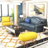 【好店】后现代港式轻奢美式真皮沙发组合现代客厅大户型三人位皮艺家具 组合