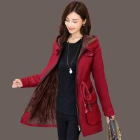 加绒加厚外套女冬季新款大码保暖绒衣中长款风衣女卫衣棉衣 酒红色 M