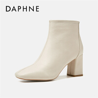 Daphne/达芙妮短靴女2019秋冬新款百搭ins马丁靴短筒粗跟瘦瘦靴---