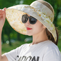 夏天可折叠帽子女防晒遮阳帽休闲出游防紫外线大沿户外太阳帽