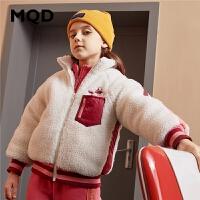 MQD童装女童棉衣2019冬季新款儿童立领加绒加厚保暖羊羔毛外套潮