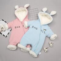 婴儿爬服婴儿棉衣外出服加绒加厚爬服冬款连帽连体衣0-12个月宝宝外套新品XM-5