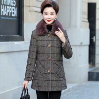 妈妈毛呢外套中长款呢子大衣妈妈秋装中老年女冬装上衣新款妈妈装