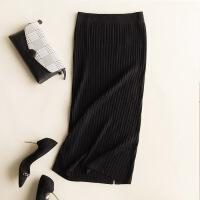 秋冬新款羊绒包臀女一步裙半身裙修身毛线裙显�C针织裙后开叉