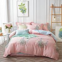 家纺天丝四件套夏季床上用品夏天冰丝床单被套1.8m床夏凉定制 浮香 粉 2.0m床笠180*200 被套220*240