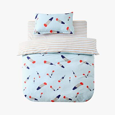 当当优品学生三件套 200T加密纯棉斜纹单人床件套 彩色羽毛(蓝)