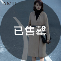 AMII[极简主义]秋冬新V领修身高腰线大码毛呢外套女11571752