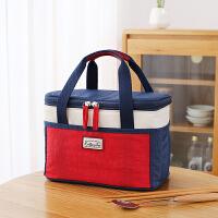 加厚饭盒袋便当手提包装饭的袋子女保温袋铝箔大号帆布防水带饭包