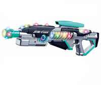 电动玩具枪折叠炫彩灯光枪声光投影太空枪男孩生日礼物仿真模型枪 官方标配