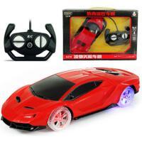 充电彩灯轮儿童遥控车玩具汽车模型漂移耐摔耐撞赛车跑车男孩玩具 兰博 红色 彩灯轮款
