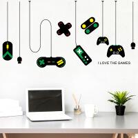 FX7507游戏机游戏手柄装饰吊灯墙贴 网吧书房电脑桌背景贴画 25*70cm*2PCS