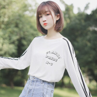 2018新款春秋女装上衣学生百搭字母长袖T恤拼色条纹打底衫