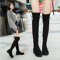 秋冬新款单长女显瘦平底粗高跟保暖学生高筒过膝弹力长靴子 黑色