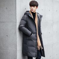 吉普盾长款修身羽绒服男士冬季新款吉普盾羽绒服青年中长款潮外套加厚男装羽绒大衣